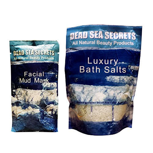 Premier Dead Sea Mud Mask and Dead Sea Salt from Israel, Authentic Organic DEAD SEA SECRETS 1 Mud Mask Plus 1 Bath Salt Pack , Relaxation Kit to Detox Exfoliate, Anti Acne, Eczema, Psoriasis