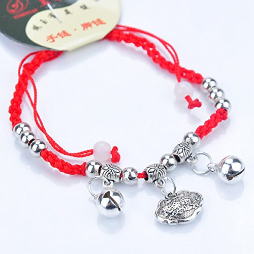 (Black snow red string bracelet men and women weave transport imitation Thai silver bells bracelet with jewelry ly children)