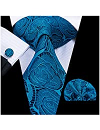 Men Classic Navy Blue Teal Tie Handkerchief Necktie with Cufflinks and Pocket Square Tie Set