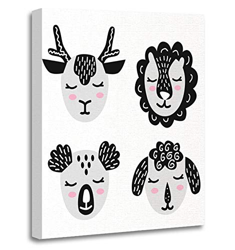 Emvency Painting Canvas Print Artwork Decorative Print Muzzles Faces Wild Handdrawn Animals Such As Deer Doe Panda Bear Sheep Lamb Wooden Frame 20x30 inches Wall Art for Home Decor