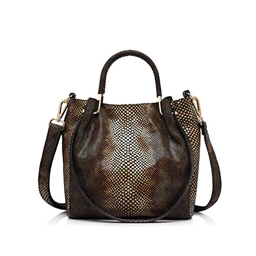 Women Leather Handbag Casual Shoulder Bag Female Gold Python Pattern Leather Tote Bag Messenger Bags Yellow Brown