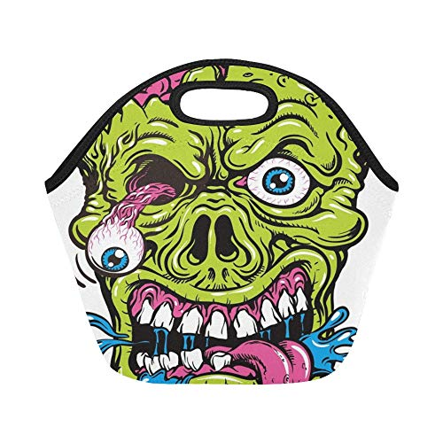 Insulated Neoprene Lunch Bag Detailed Zombie Head Large Size Reusable Thermal Thick Lunch Tote Bags For Lunch Boxes For Outdoors,work, Office, School ()