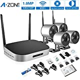 A-ZONE Mini 4CH Wirless Camera Kit, 720P HD Wireless Network/IP Security Camera System, 4CH WIFI NVR with 4x 1.0MP Surveillance Cameras,1280*720 High Resolution with Superior Night vision- 1TB HDD