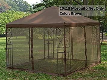Universal 10u0027 x 10u0027 Gazebo Replacement Mosquito Netting - Brown : 10x10 canopy with netting - memphite.com