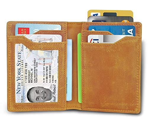 Bi Vertical Fold - Minimalist Slim Thin bifold Wallets For Men Leather Front Pocket Rfid Western Wallet Travel Vintage Id Card Brown