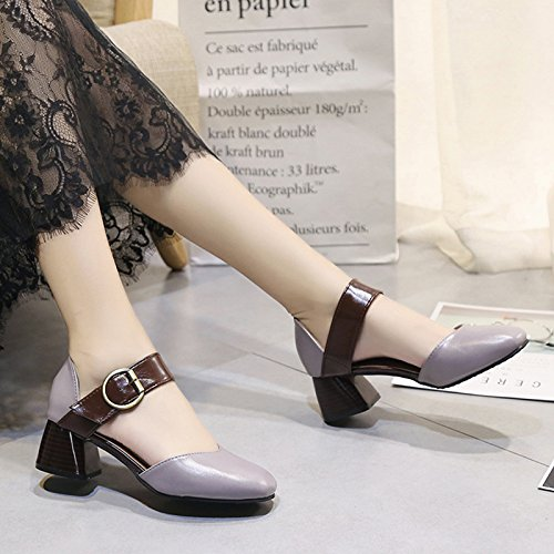GAOLIM Women'S Shoes In The Spring-Head With Thick Metal Buckle With Single Shoes Baotou Exposed Their Occupational Footwear