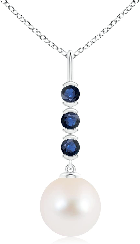 Solitario Colgante de agua dulce perla cultivada Drop con Zafiros