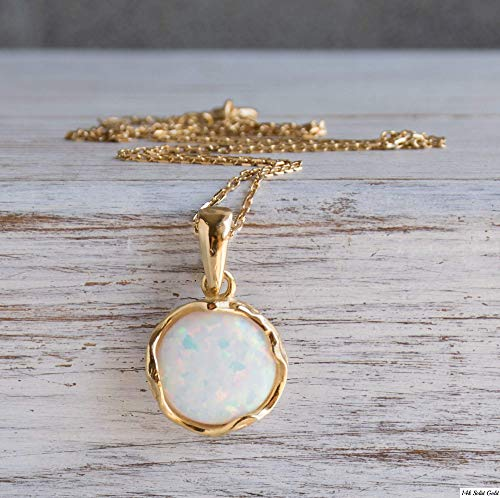 14K Gold Plated White Opal Necklace - 14K Gold Plated over 925 Sterling Silver, Dainty 12mm White Opal Gemstone Pendant, October Birthstone, Handmade Vintage Antique Jewelry for Classy Women