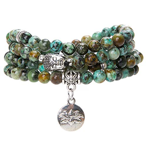 Bivei 108 Mala Beads Bracelet - Genuine Gemstone Mala Prayer Beads Lotus Charm Meditation Necklace - African Turquoise -