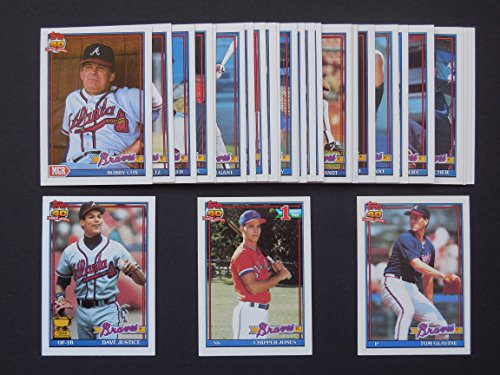 Atlanta Braves 1991 Topps Baseball Team Set (30 Cards) (National League Champions)**I ship within 24 hours** (Chipper Jones Rookie Card) (Bobby Cox) (Dave Justice) (Tom Glavine) (John Smoltz) and more
