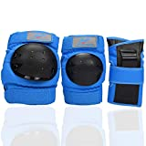 Power Eagle Kids Adults Knee Pads and Elbow Pads with Wrist Guards Protective Gear Suit for: Scooter, Skateboard, Bicycle, Snowboard, Inline Skating, Roller Skating Safety Protection (Blue, X-Small)