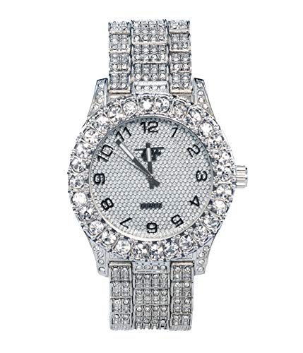(Mens Bling-ed Out Silver Adjustable Watch with CZ Bezel and Iced Out Band - Silver)