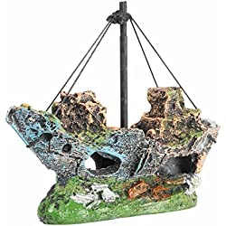 Ace Aquarium Decorations | Shipwreck Ornament Fish Tank Fishing Boat Ruins Miniature | Eco-Friendly Ship Ruins Accessories for Freshwater Saltwater Tanks | Non-Toxic Resin | Various Color | 1421.3