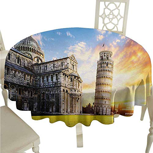 duommhome Italy Waterproof Tablecloth Place of Miracoli Complex with The Leaning Tower of Pisa in Front Tourist Attraction Easy Care D55 Multicolor