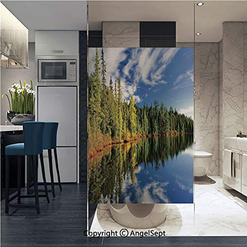 AngelSept Removable Static Decorative Privacy Window Films Elegant Forest Reflecting on Calm Lake Shore at North Canada Universe Art Print for Glass (22.8In. by 35.4In),Green Blue White (Best Sights In Canada)