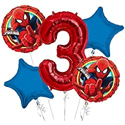 Spiderman Balloon Bouquet 3rd Birthday 5 pcs - Party Supplies
