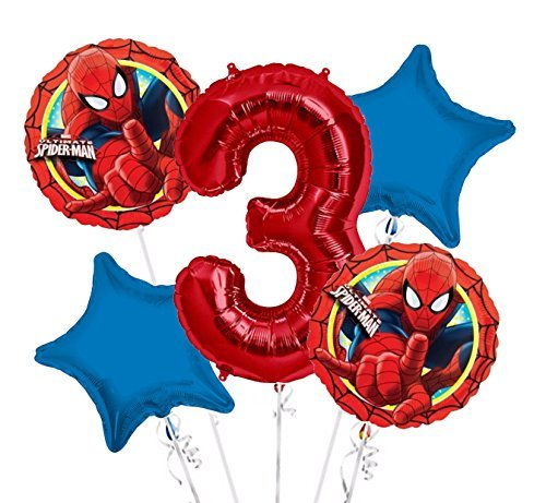 (Spiderman Balloon Bouquet 3rd Birthday 5 pcs - Party)
