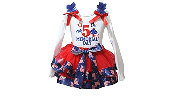 Petitebella My 5th Memorial Day White L//s Shirt US Flag Red Petal Skirt Nb-8y