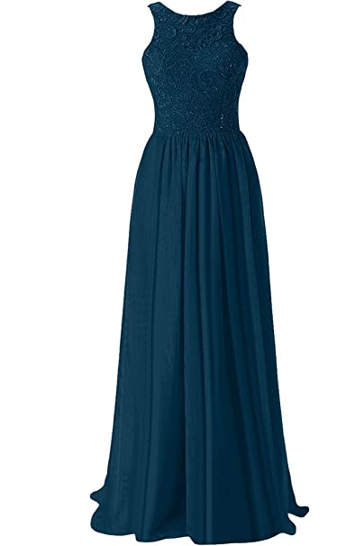 Sunvary Graceful a-line joya escote sin tirantes largo vestido fiesta noche fiesta gasa vestidos