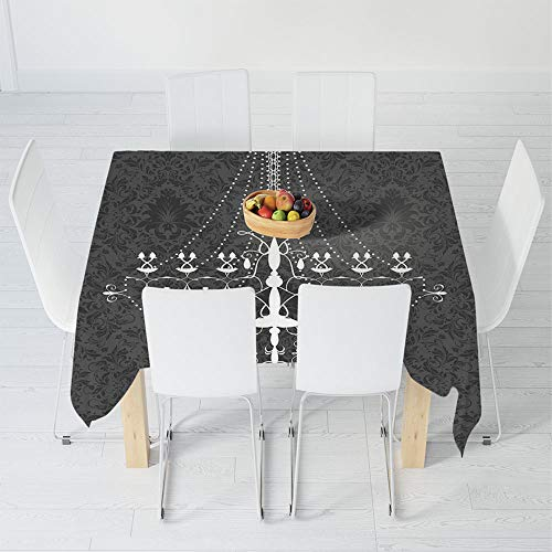 Dust-Proof Tablecloth,Vintage,for Kitchen Dinning Tabletop Decoration,23.6 X 23.6 Inch,Victorian Baroque Stylized Nostalgic Chandelier on Damask
