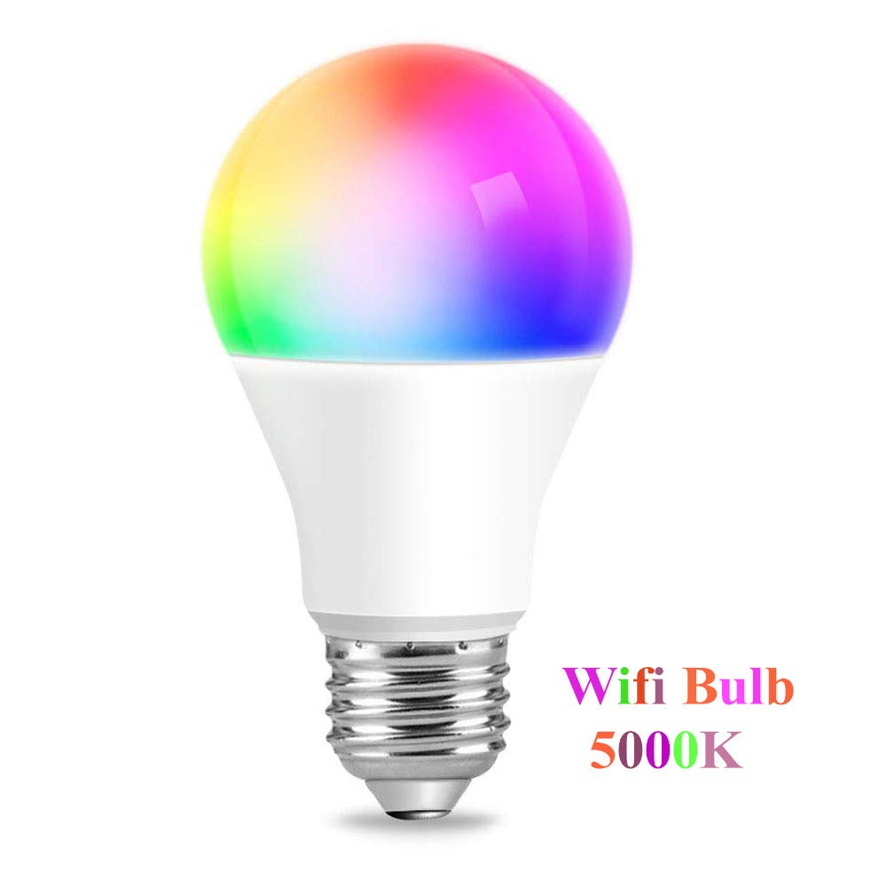 Smart WiFi Light Bulb YAMAO RGBW Color Changing 5000K Bulb Compatible with Alexa and Google Assistant A19 E26 Dimmable Bulbs 6W 500LM No Hub Required (1 Pack)