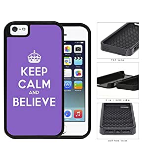 Keep Calm And Believe Purple Violet 2-Piece Dual Layer High Impact Rubber Silicone Cell Phone Case Apple iPhone 5 5s
