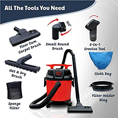 Inalsa Ultra WD10 Wet & Dry Vacuum Cleaner-1000W with 3in1 Multifunction Wet/Dry/Blowing  14KPA Suction and Impact Resistant Polymer Tank,(Red/Black) 10
