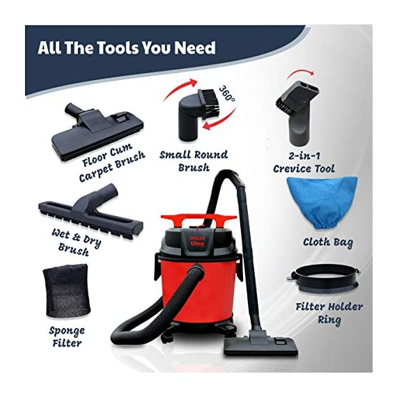 Inalsa Ultra WD10 Wet & Dry Vacuum Cleaner-1000W with 3in1 Multifunction Wet/Dry/Blowing  14KPA Suction and Impact Resistant Polymer Tank,(Red/Black) 3