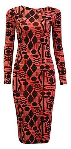 Print Long Sleeved Dress (Crazy Girls Womens Birds and Feathers Print Long Sleeved Midi Dress (S/M (US4/6-UK8/10), Geometry Print Coral))