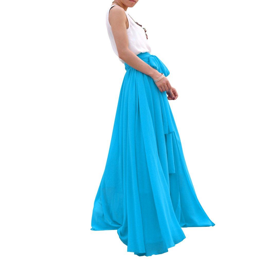 MELANSAY Beatiful Bow Tie Summer Beach Chiffon High Waist Maxi Skirt