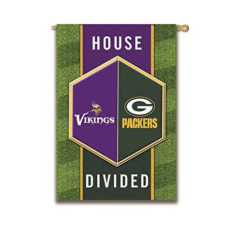 (Team Sports America Green Bay Packers vs Minnesota Vikings House Divided Suede House Flag )