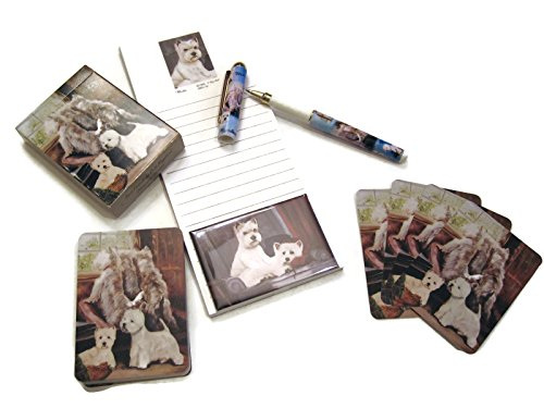 Dog Lover's Gift Set! - 4 Piece Bundle- One Custom Fine Art Writing Pen, One Matching Magnetic List Pad, One Matching Decorative Magnet, One Matching Deck Playing Cards (West Highland White Terrier)