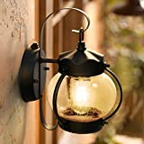 Dusk to Dawn Sensor Outdoor Porch Light, Lamomo Outdoor Light Lantern Wall Sconce Fixture with E26 6W Led Light Bulb, Anti-Rust Waterproof Black Lamp for Garden, Porch, Villas, Court-Yard
