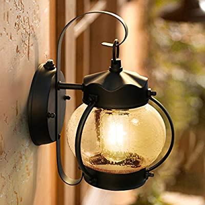 Dusk to Dawn Sensor Wall Lantern Outdoor Light Fixture Black Sconce Porch Light with E26 Base Socket, Anti-Rust Seeded Glass Waterproof Matte Black Wall Lamp for Garden, Garage - Dusk-to-dawn photocell porch lights,turn night into light;automated turns ON at sundown/night, OFF at sunrise/daytime, help saving money. 7.9x4.7x10.4 inces (L x W x H), back plate is 5.1x4.9 inches, black plate is 1 inch from the wall. One energy-saving E26 LED light bulb included, warm white and 100 lm/W offers high brightness creating sweet shining atmosphere. - patio, outdoor-lights, outdoor-decor - 51 4isYMQnL. SS400  -