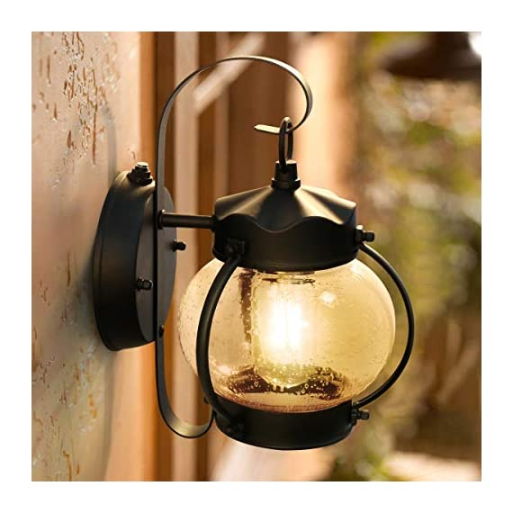 Dusk to Dawn Sensor Wall Lantern Outdoor Light Fixture Wall Mount, Black Exterior Led Outdoor Lighting Porch Light with E26 Base Socket, Anti-Rust Seeded Glass Waterproof Wall Lamp for Garden, Garage - 【NOT Motion/Solar Type】Dusk-to-dawn photocell porch lights,turn night into light;automated turns ON at sundown/night, OFF at sunrise/daytime, help saving money. 【Easy Installation 】All mounting accessories are included for quick and easy installation . Open bottom allows to replace bulb easily. During 1 years after the purchase, with any problem, please feel free to CONTACT US for a satisfactory solution. 【Superior LED Bulb Included】no need to buy a light bulb separately. High output up to 750 lumens, the light diffuses to a larger area, illuminates your way home at night. Replaces 60W incandescent vintage bulbs by 6W LED only, save up to 90% energy. - patio, outdoor-lights, outdoor-decor - 51 4isYMQnL. SS570  -