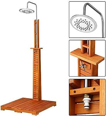 Ducha de jardín, ducha de piscina, ducha de sauna, en madera de eucalipto: Amazon.es: Jardín
