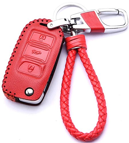 Red Leather Cover Etui Shell For Volkswagen VW Skoda Seat 3-Button Keyless Entry Remote Flip Car Key Fob Holder Protective Case Bag with Braided Key Chain & Key Rings Auto Accessories Gifts (Auto Ring Leather Key)