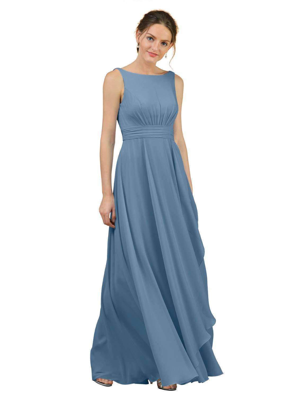 Alicepub A-Line Chiffon Plus Size Bridesmaid Dress Long Party Evening  Dresses Prom Gown Maxi, Dusty Blue, US26