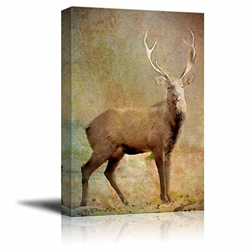 (wall26 - Animal Theme Canvas Wall Art - an Elk on The Vintage Background - Giclee Print Gallery Wrap | Modern Home Decor Stretched & Ready to Hang - 16x24 inches)
