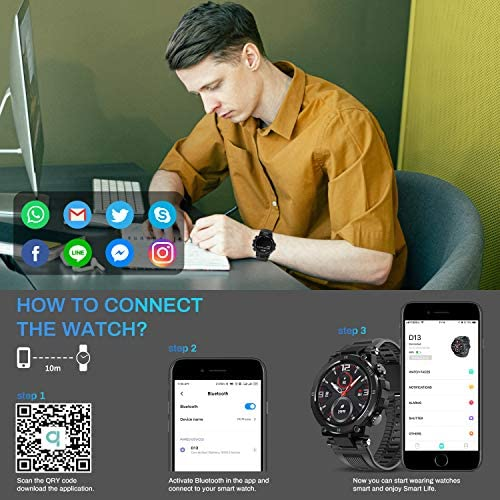HopoFit Smart Watch for Android Phones iOS,Fitness Tracker for Women Men,Bluetooth IP68 Waterproof Sport Smartwatch for Women Men Heart Rate Sleep Blood Pressure Pedometer Compatible Samsung iPhone 3