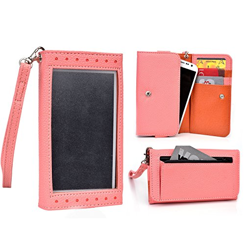 Cooper Expose [Women's Smartphone Clutch Wallet Case] for HTC One SC/ST/SV/SV CDMA | Screen Shield, Pockets (Coral/Tangerine) (Wallet Phone Cases For Htc One Sv)