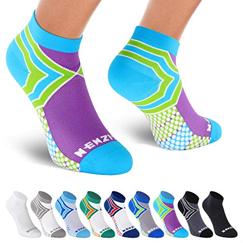 NEWZILL Low Cut Compression Socks - Unisex Running Socks with Embedded Frequency Technology for Heel, Ankle & Arch Support (Medium, Green/Purple)