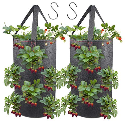 Hanging Strawberry Planter - 2 Pack Hanging Planter for Strawberry, Fabric Plant Pots for Growing Strawberry with Hooks Included