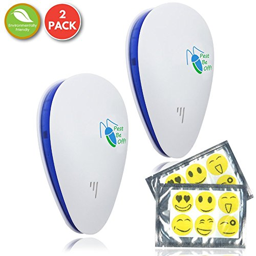 [NEW 2018] Ultrasonic Electromagnetic Pest Control Repeller Plugin (Set of 2) Ideal Electronic Pest Control to Repel Mouse Spiders Cock Roaches Mosquitos Ants |Non-Toxic, Pet Safe By Pest-Be-Off!