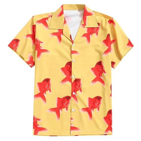 Cocoty-store 2019 botón de la Camisa Hawaiana de los Hombres de la Hoja de impresión de algodón hacia Abajo, XS, Amarillo: Amazon.es: Ropa y accesorios