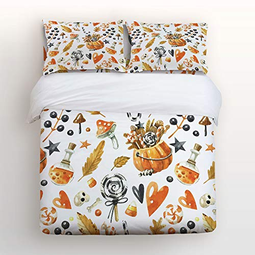 Art Decor Home Happy Halloween Watercolor Decoration Clipart 4 Piece Duvet Cover Bedding Sets 100% Polyester Fiber Comfortable Breathable Soft Material for Childrens/Kids/Teens/Adults -