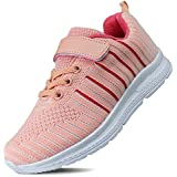 Hawkwell Kids Running Shoes Boys Girls Breathable Lightweight Walking Sneaker(Toddler/Little Kid),Pink Fabric,11 M US