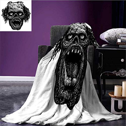 RenteriaDecor Halloween Throw Blanket Zombie Head Evil Dead Man Portrait Fiction Creature Scary Monster Graphic Oversized Travel Throw Cover Blanket Black Dark Grey Bed or Couch 70
