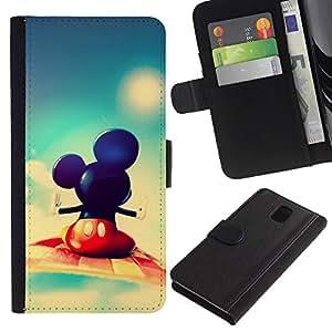 YiPhone /// Tirón de la caja Cartera de cuero con ranuras para tarjetas - Mickey Fly - Samsung Galaxy Note 3 III