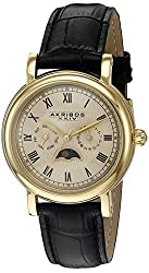 Akribos XXIV Men's AK635YG Retro Multifunction Gold-Tone Stainless Steel Watch with Embossed Leather Band